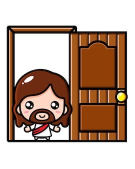 ドアを開けたかわいいイエス・キリスト