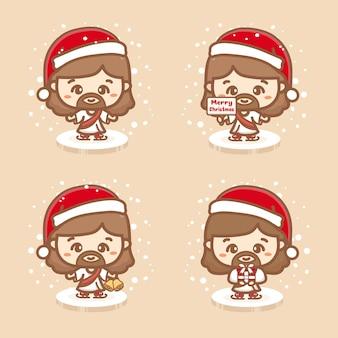 귀여운 예수 크리스마스와 얼음 블록에 서 있습니다. 선물, 징글 벨, 크리스마스 텍스트를 들고 눈이 내립니다.