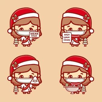 Милый иисус надевает медицинскую маску, моет руки, защищает от коронавируса covid-1. новая нормальная рождественская концепция