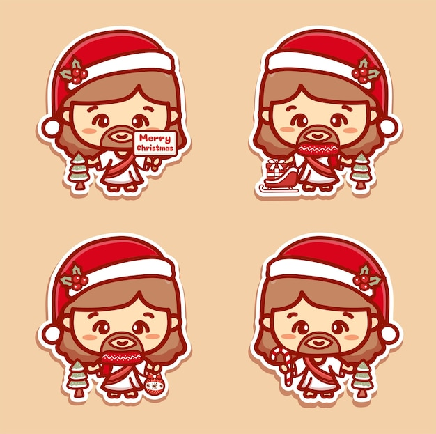 かわいいイエスは、クリスマスセットのベクトル、ギフト、キャンディー、クリスマスのテキストを保持するためにサンタの帽子をかぶっています。カワイイステッカー