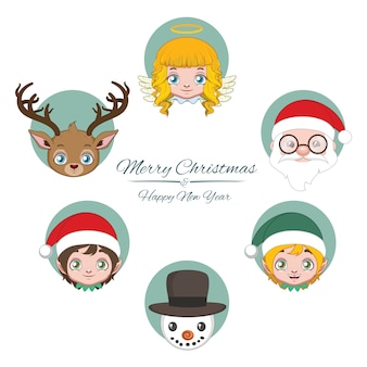 Cute jolly christmas character avatars