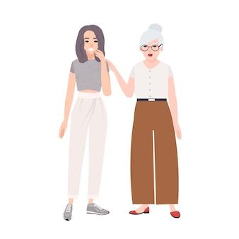 귀여운 즐거운 할머니와 손녀 이야기, 농담, 웃음. 재미 있은 행복 노인 여성과 젊은 십 대 소녀가 함께 재미. 플랫 만화 스타일의 다채로운 그림입니다.