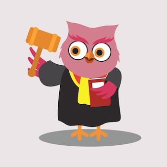 Cute judge of owl cartoon character