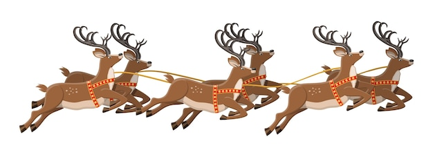 Cute jumping deer with antlers illustration