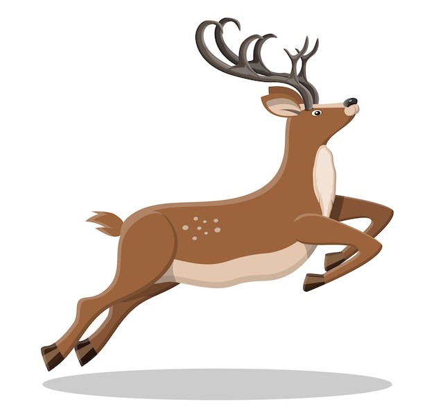 Cute jumping deer with antlers