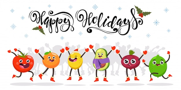 Cute jumping fruits and vegetables. happy holidays hand drawn text.  cartoon funny food character.