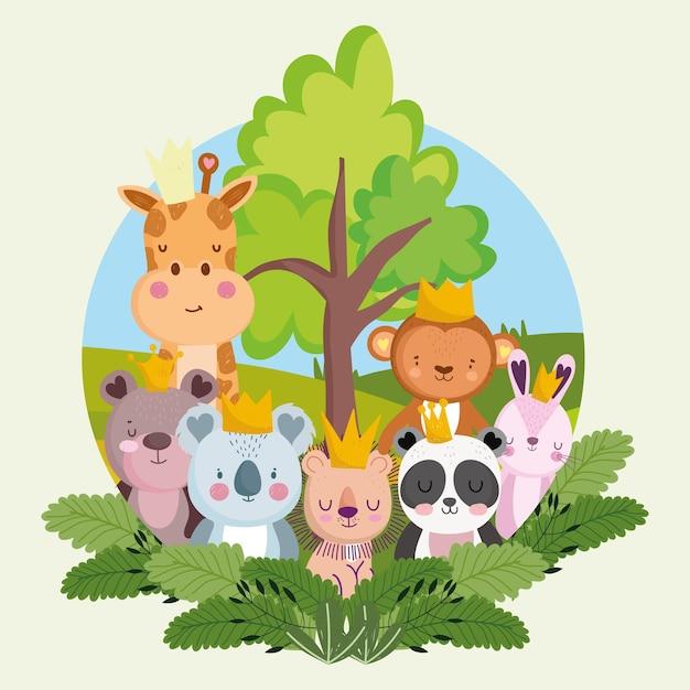 かわいいジャングルの動物の漫画