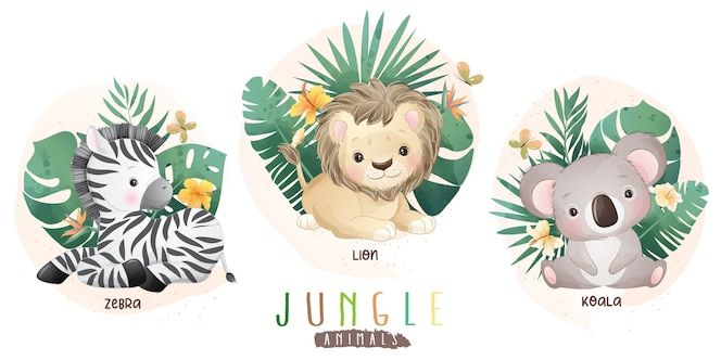 花のコレクションを持つかわいいジャングルの動物