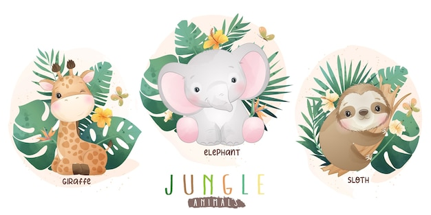 Cute jungle animals with floral collection
