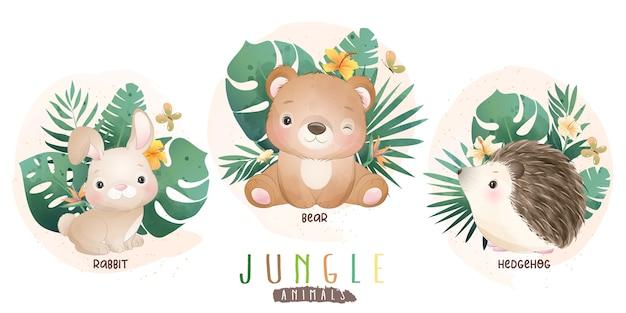 꽃 컬렉션과 귀여운 정글 동물