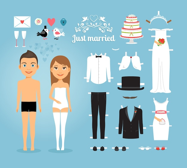 Cute just married couple paper dolls with set of wedding stuffs on sky blue background