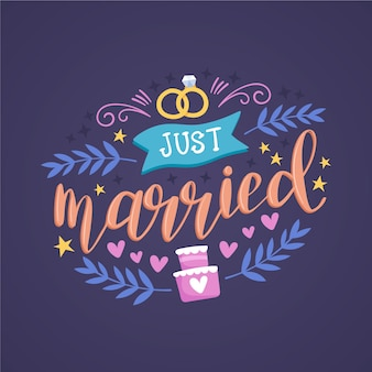 Cute just married lettering