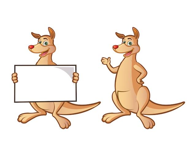 Cute kangaroo cartoon mascot