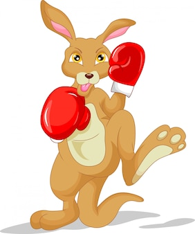 Cute kangaroo cartoon wearing boxing glove