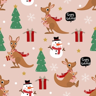 Cute kangaroo and joey in winter costume seamless pattern