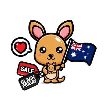 オーストラリアの旗と黒い金曜日割引でかわいいカンガルー