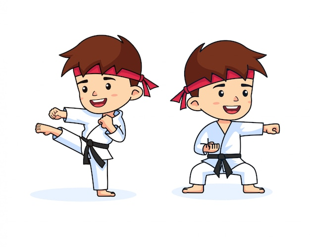 Cute karate boy kids