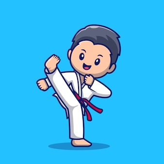 Cute karate kid cartoon icon illustration. people sport icon concept isolated premium . flat cartoon style