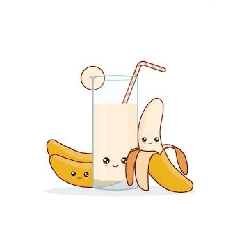 귀여운 카와이 웃는 만화 바나나 주스. 벡터