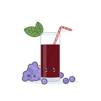 Cute kawai smiling cartoon grape juice. vector