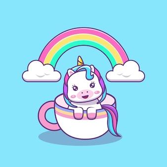 Cute kawai unicorn in coffee or tea cup cartoon illustration