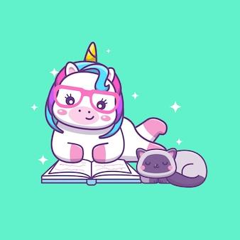 Симпатичный каваи-единорог, читающий книгу со спящей кошкой, иллюстрации шаржа