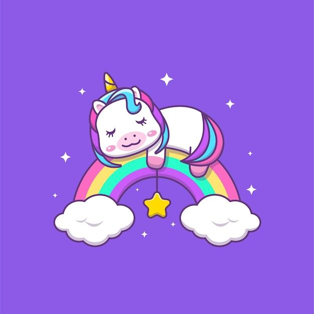 虹の漫画イラストで眠っているかわいいカワイユニコーン