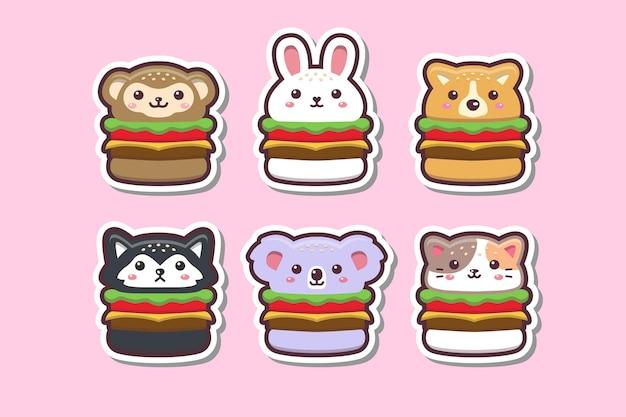Симпатичные каваи животных бургер рисунок стикер набор иллюстрации