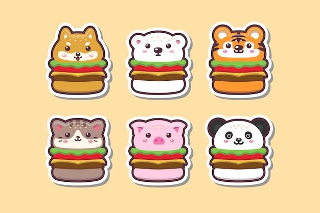 Cute kawaii animal burger drawing sticker set illustration
