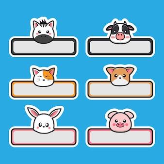 Cute kawaii animals hold label name tag