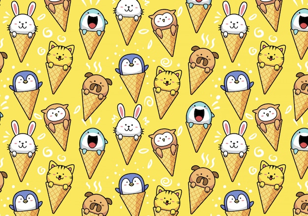 Cute kawaii animals in ice cream cone