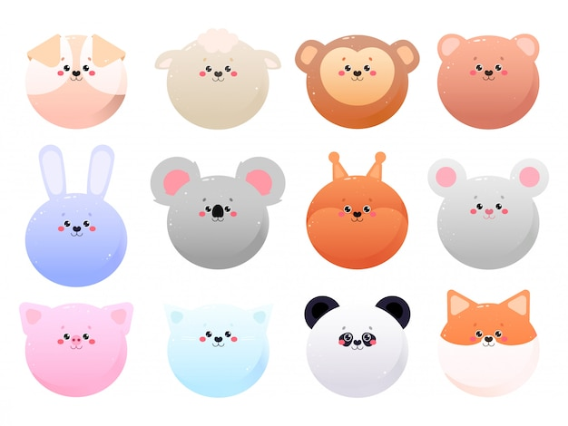 Cute kawaii animals isolated on a white background.