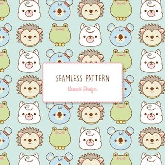 Cute kawaii animals transparent seamless pattern