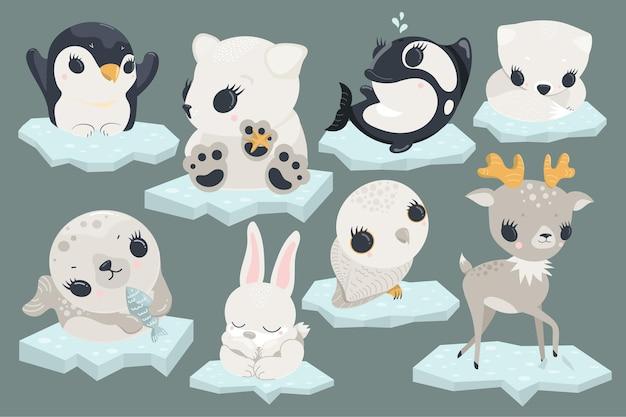 Cute kawaii arctic polar baby animals set on ice as illustration