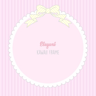 Cute kawaii baby girl cute frame with stripes seamless pattern