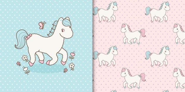 Cute kawaii baby horse and seamless pattern