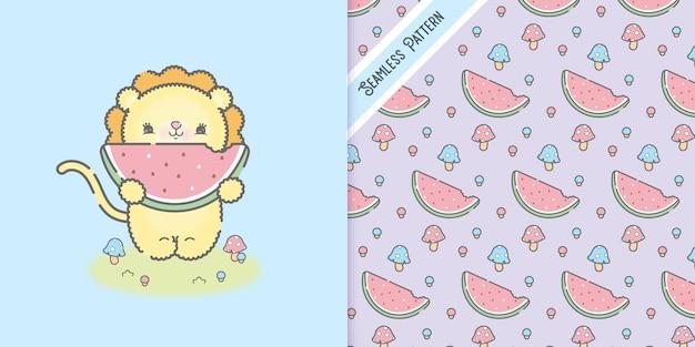 Cute kawaii baby lion eating watermelon and seamless pattern