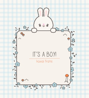 Cute kawaii baby shower frame with bunny and flowers