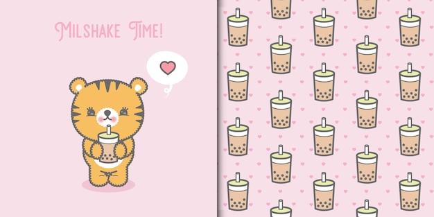 Милый тигренок каваи пьет молочный коктейль и бесшовный фон