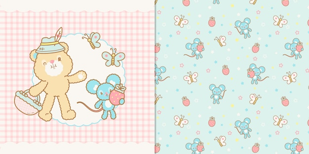 Cute kawaii bear and mouse illustration and seamless pattern