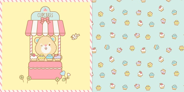 Cute kawaii bear selling cup cakes illustration and seamless pattern