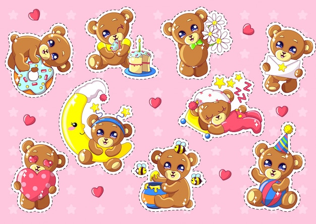 Cute kawaii bears characters set with objects.