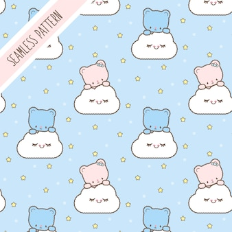 Cute kawaii bears seamless pattern