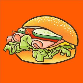 クールな漫画のスタイルとクローズアップビューでかわいいかわいい牛肉ベーコンハンバーガー