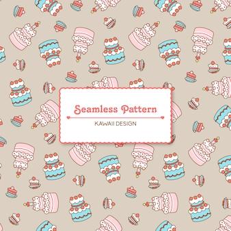 Cute kawaii birthday cakes transparent seamless pattern