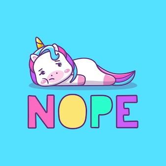 Cute kawaii bored unicorn cartoon illustration