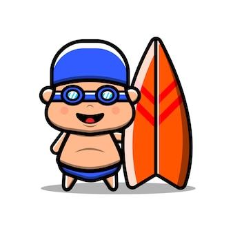 귀여운 kawaii 소년 서핑 벡터 아이콘 그림입니다. 외딴. 스티커, 웹 방문 페이지, 배너, 전단지, 마스코트, 포스터에 적합한 만화 스타일.
