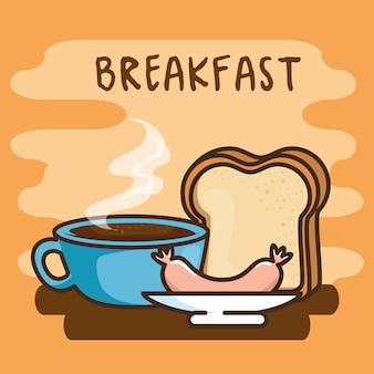 Cute kawaii breakfast food cartoon Premium Vector