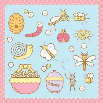 Cute kawaii bugs set