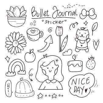 Cute kawaii bullet journal doodle hand drawing sticker set